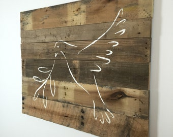 """Religious Decor Peace Dove Spiritual Wall Hanging on Reclaimed Wood 37"""" x 29"""""""