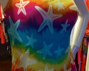 Vintage 80's Speedo Swimsuit One Piece- Groovey Rainbow Tye Dye W/ Starfish Print