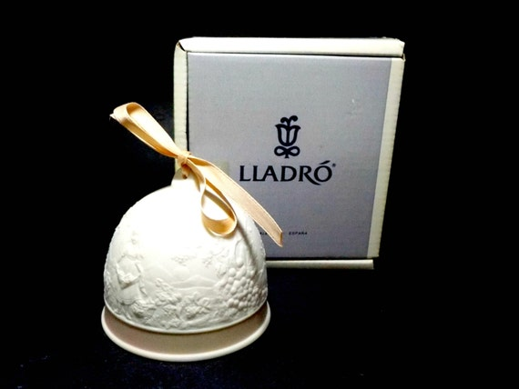 Lladro Fall Bell, 1993, Lladro Collectors Society Fall Bell, White Porcelain Bell, Lladro Collectible Bell, Original Lladro Box