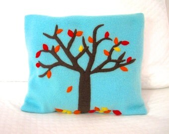 FREE SHIPPING Microwave Heating Pad Cherry Stone Filled Fleece Pillowcase with Autumn Tree Appliqué