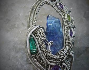 """wire wrap pendant: """"Speleo"""" tanzanite, emerald, amethyst, peridot"""