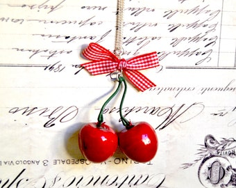 Handmade pair of cherries necklace