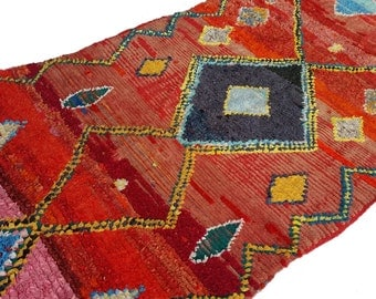 "95""X55"" Vintage Moroccan rug woven by hand from scraps of fabric / boucherouite / boucherouette"