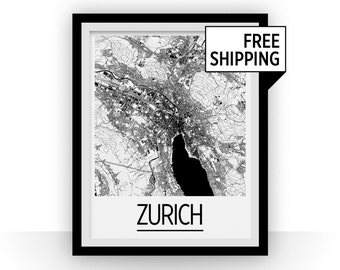 Zurich Map Poster - switzerland Map Print - Art Deco Series