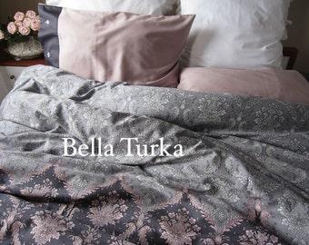 Dusty Pink Charcoal Grey DAMASK Print Full Queen King Duvet Cover Set, Custom Gray Bedding Set Romantic Bedroom Dorm Bedding Set Bella Turka
