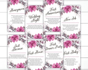 Floral Wedding Wine Tags, Milestone Wine Tags, Year of Firsts Wine Tags, Bridal Shower Wine Tags, INSTANT DOWNLOAD