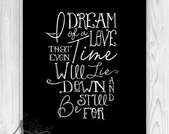 Practical Magic Typography Quote, Practical Magic Movie Quote, I dream of a love, Typography Art, Movie Home Decor - Wall ART PRINT