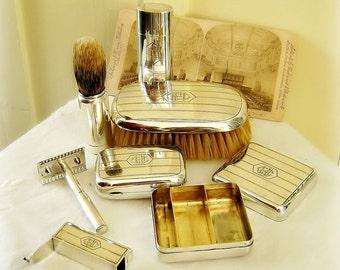 Antique Sterling Silver Mens Travel Grooming Vanity Kit Engraved William Kerr ca 1900