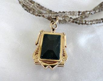Antique Gold Filled Watch Fob Locket Necklace, Bloodstone Onyx Swivel Fob Locket Victorian