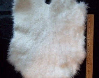 "Genuine Real White Rabbit Skin/Pelt/Hide/Fur - Taxidermy, Leathercrafters ,Crafts, Rendezvous, Tanned, ""NEW"""