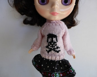 "Hand Knit Wool Blythe 12"" Doll Jumper in Pale Pink with Black Skull and Crossbones Halloween Winter Wear"