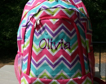 Monogrammed Girls Backpack Multicolor Chevron Girls Bookbag Pink Trim