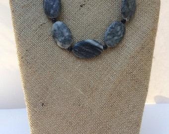 Black stone necklace, chunky beaded necklace, choker necklace