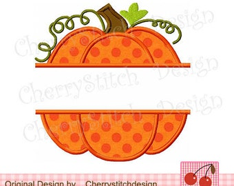"Split Pumpkin Fall Pumpkin Machine Embroidery Applique Design -4x4 5x5 6x6"" TH0018"