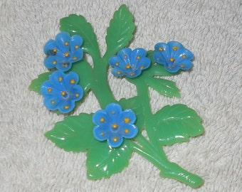 Vintage celluloid forget-me-not brooch/ pin