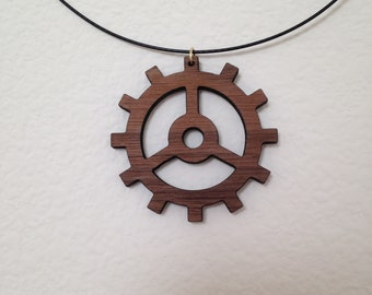 Wooden cog necklace (Walnut)