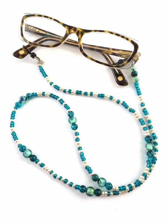 teal eyeglass chain lanyard glasses chain reading glasses