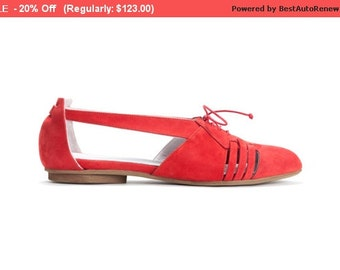 SALE - 20% Off Red Flats, Summer Shoes, Leather Shoes, Handmade Shoes,  Women Shoes