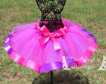 Hot Pink and Purple Ribbon Tutu - Newborn Baby Infant Tutu - Toddler Tutu