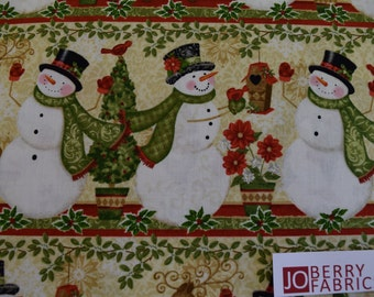 Snowman and Deer from the Winter Bliss Collection by Sharla Fults for Studio E.  Quilt or Craft Fabric, Fabric by the Yard.