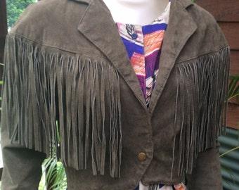 1980's suede fringed khaki cropped jacket by MTV Sydney.