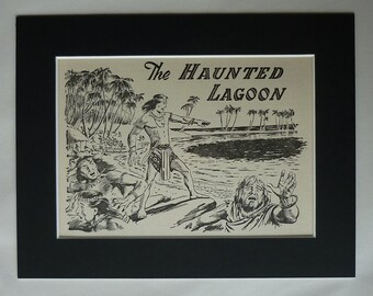 1950s Boys' Adventure Print, Available Framed, Ghost Art, Haunted Lagoon Decor, Old Nursery Picture, Desert Island Gift, Tropical Paradise