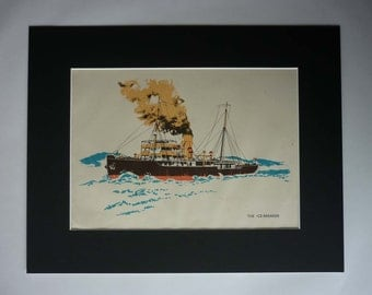 1940s Antique Ice Breaker Print, Available Framed, Ship Art, British Nautical Gift, Boys' Bedroom Wall Art, Maritime Decor Steamer Picture