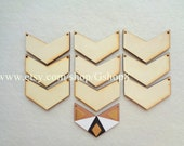 10 Wood Chevron Ready to be Painted, Unfinished Wood Chevron Tile for Jewelry, Geometric Jewelry,