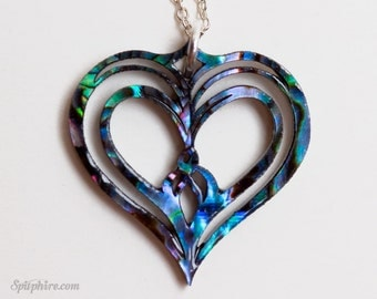 Heart Necklace — Abalone & Mother of Pearl