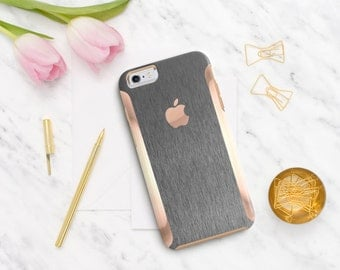 Platinum Edition Brushed Steel with Rose Gold Detailing Hybrid Hard Case Otterbox Symmetry iPhone 6 / iPhone 7 / Galaxy S7 / S7 Edge