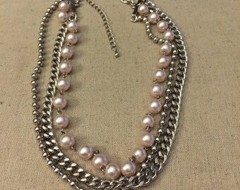 Tripple Strand Necklace Silver Tone and Faux Pearl