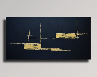 ABSTRACT PAINTING Black Gold Painting Original Canvas Art Contemporary Abstract Modern Art 48x24 wall decor - Unstretched - 10B