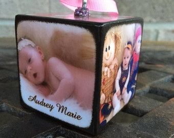 Baby's First Christmas Ornament- Wood Photo Block - Personalized ornament-Christmas Ornament-First Christmas