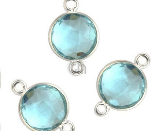 30% OFF Hydro Blue Topaz, Bezel Round Shape Connector, 10mm Round Silver Plated, Double Bail 1pc.(HB-10188)