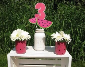 Watermelon Mason Jars - Watermelon Decor - Watermelon Party - Summer Party Decor