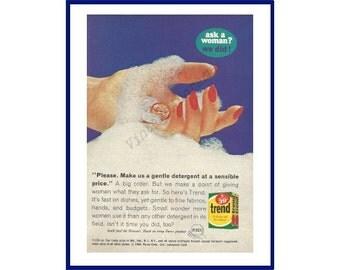 "TREND DETERGENT Original 1965 Vintage Color Print Ad - ""Please. Make Us A Gentle Detergent At A Sensible Price."""