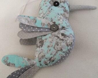 handmade fabric bird hanging decoration, fabric textile bird model, soft sculpture room decoration