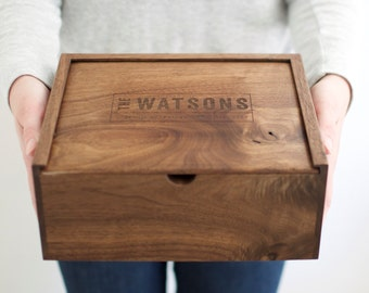 Keepsake Box - Wooden Box - Wedding Card Box - Photo Box - Groomsmen Gift - Memory Box - Wooden Photo Box - Gifts for Dad- Baby Keepsake Box