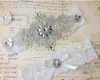 20% OFF White Wedding Garter Set,, White Lace Bridal Garter set, White Garter Set, Personalized Garter, Rhinestone Garter Set