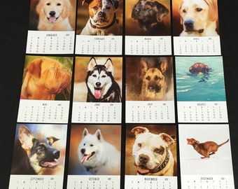 "Dog Lover Calendar, photo calendar,Dog Art Calendar,2017,Monthly Calendar,Artistic Dog Portraits, 5""x7"" Monthly calendar ,stocking stuffer"
