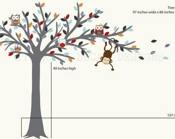 Owl tree decal, Blowing Tree, Owl Nursery Art, owl wall decal, nursery owl decor, Modern Bliss Design