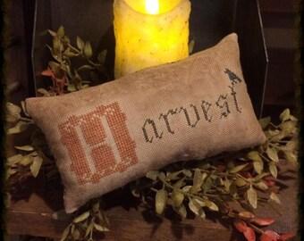 Primitive Harvest | Primitive Pillow Tuck | Pin Keep | Fall Cross Stitch | Autumn Harvest | Primitive Fall Decor | Primitive Decor | Crow |