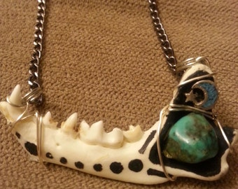 Bone Mandible Pendant Necklace Wirewrap