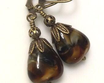 Bohemian Earrings  Blue and Brown Glass Earrings  Czech Glass Earrings  Chocolate Brown Earrings  Boho Earrings  Gypsy Dangles