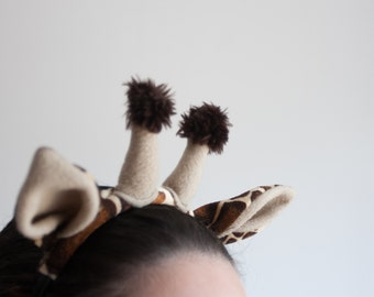 Giraffe Ears Headband, Children's or Adult's Photo Prop, Giraffe Costume, Pretend Play, African Animal