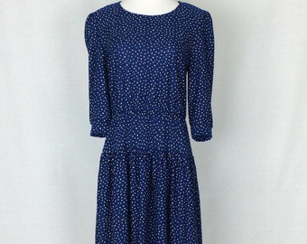 Vintage 80s Dress/ 80's Speckled Dress/ Navy and White Medium Large
