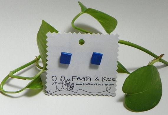 Blue Wooden Square Earrings from Feath and Kee