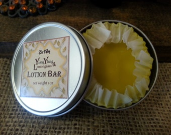 Lotion Bar - Ylang Ylang and Lemongrass Essential Oils Small Tin Organic Cocoa Butter, Organic Hemp Oil