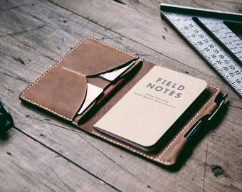 GRAMS28 - NOTEBOOK/ PASSPORT WALLET, hand stitched Leather Passport Case, Passport Cover, Boarding Pass Holder