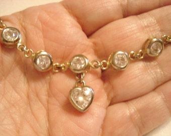 Vintage Sterling Crystal Bracelet With Heart Dangle